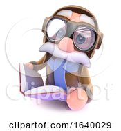 3d Funny Cartoon Airline Pilot Character Reading A Book