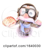 3d Funny Cartoon Airline Pilot Character Holding A Human Brain