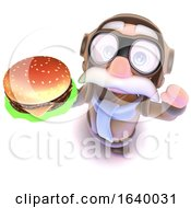 3d Funny Cartoon Airline Pilot Character Holding A Cheese Burger Fast Food Snack