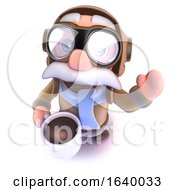 Poster, Art Print Of 3d Funny Cartoon Airline Pilot Character Drinking A Cup Of Coffee Or Tea