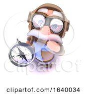 3d Funny Cartoon Airline Pilot Character Holding A Navigational Magnetic Compass