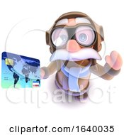 3d Funny Cartoon Pilot Airman Character Holding A Credit Card
