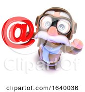 3d Funny Cartoon Pilot Airman Character Holding An Email Address Symbol