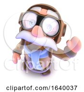 3d Funny Cartoon Pilot Airman Character Waving Hello