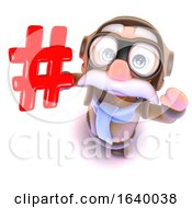 3d Funny Cartoon Airline Pilot Character Holding A Hashtag Internet Symbol