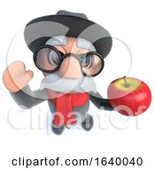 3d Funny Cartoon Old Man Holding A Juicy Red Apple