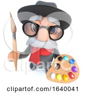 3d Funny Cartoon Old Man Character Holding A Paint Brush And Palette