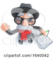 3d Funny Cartoon Old Man Character Carrying A Shopping Basket