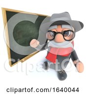 Funny Cartoon 3d Old Man Character Teaching At The Blackboard