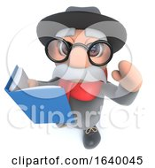 Funny Cartoon 3d Old Man Character Readig A Book