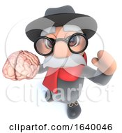 Funny Cartoon 3d Old Man Character Holding A Human Brain by Steve Young