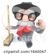 3d Funny Cartoon Old Man Character Holding A Broom