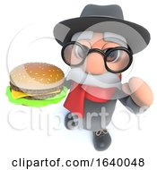 Funny Cartoon 3d Old Man Character Eating A Cheeseburger