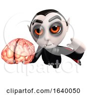 3d Dracula Vampire Character Holding A Human Brain by Steve Young