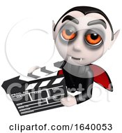 3d Vampire Dracula Character Holding A Movie Maker Film Slate by Steve Young