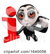 3d Halloween Dracula Vampire Character Holding An Information Symbol