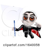 3d Dracula Vampire Character Holding A Blank Placard