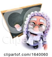 3d Judge Character Standing In Front Of A Blackboard