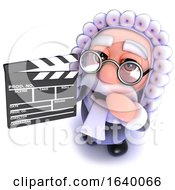 3d Judge Character Holding A Movie Makers Clapperboard