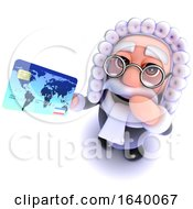 3d Judge Character Holding A Credit Card