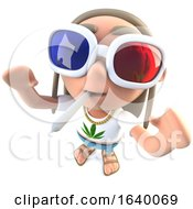 Poster, Art Print Of 3d Stoner Hippy Character Wearing 3d Glasses And Smoking