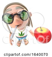3d Stoner Hippy Character Holding A Juicy Red Apple And Smoking