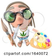 Poster, Art Print Of 3d Hippy Stoner Character Painting With A Paintbrush And Palette