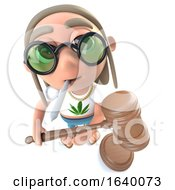 3d Stoner Hippy Character Holding An Auction Gavel And Smoking