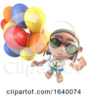 Poster, Art Print Of 3d Hippy Stoner Character Holding Lots Of Colored Balloons