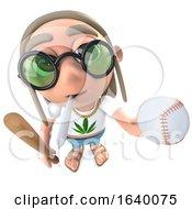 Poster, Art Print Of 3d Hippy Stoner Character Holding A Baseball Bat And Ball