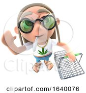 3d Hippy Stoner Character Holding A Shopping Basket