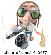 Poster, Art Print Of 3d Hippy Stoner Character With Trash Can And Broom