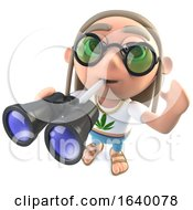 3d Hippy Stoner Character Holding A Pair Of Binoculars