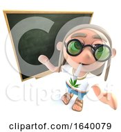 3d Hippy Stoner Character Standing In Front Of A Blackboard