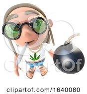Poster, Art Print Of 3d Hippy Stoner Holding A Bomb
