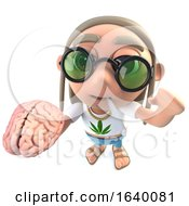 Poster, Art Print Of 3d Hippy Stoner Character Holding A Human Brain