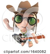 Poster, Art Print Of 3d Hippy Stoner Character Wearing A Cowboy Hat And Playing Guitar