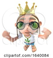 Poster, Art Print Of 3d Hippy Stoner Character Wearing A Gold Crown