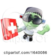 3d Frankenstein Monster Character Holding A First Aid Kit
