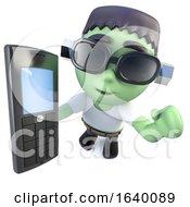 3d Frankenstein Monster Holding A Cellphone