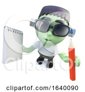 3d Frankenstein Monster Character Holding A Pencil And Notepad