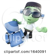 3d Frankenstein Monster Character With An Empty Office Chair
