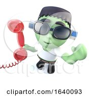 3d Frankenstein Monster Character Answering The Phone