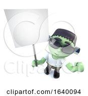 3d Frankenstein Monster Character Holding A Placard