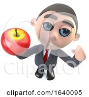3d Executive Businessman Character Holding An Apple
