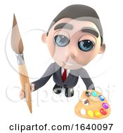 3d Executive Businessman Character Holding A Paint Brush And Palette