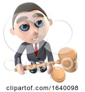 3d Executive Businessman Character Holding An Auction