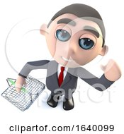 3d Executive Businessman Character Holding A Shopping Basket