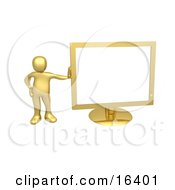 Golden Person Leaning Against A Gold Flat LCD Computer Screen Monitor Clipart Illustration Graphic