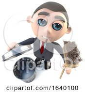 3d Executive Businessman Character Cleaning With A Broom by Steve Young
